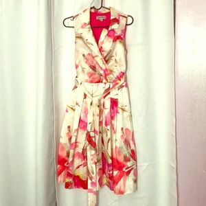 A-line pleated floral collared Sunday dress